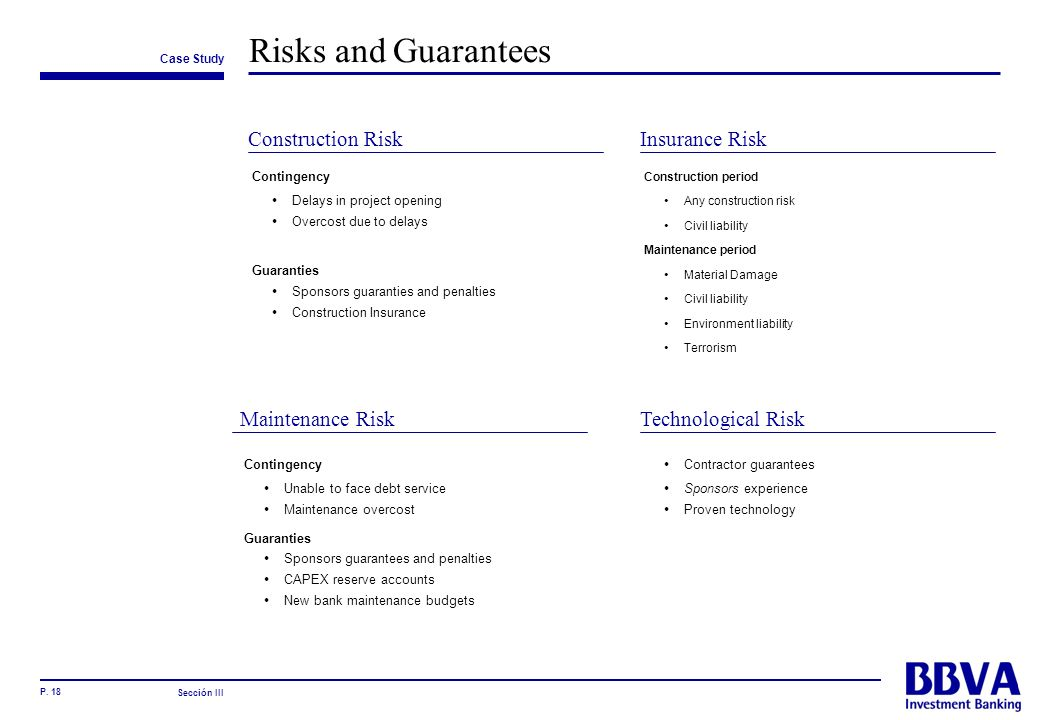 Risks and Guarantees Construction Risk Insurance Risk Maintenance Risk