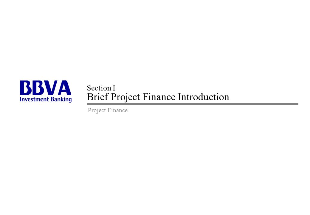 Section I Brief Project Finance Introduction