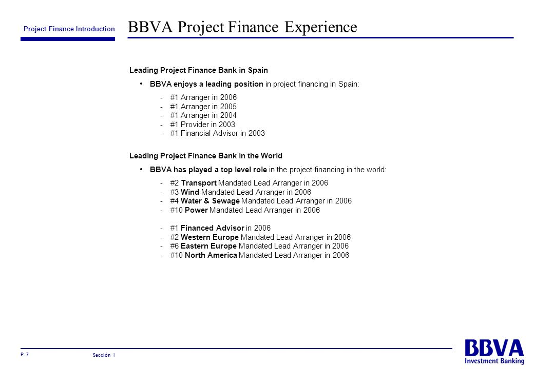 BBVA Project Finance Experience