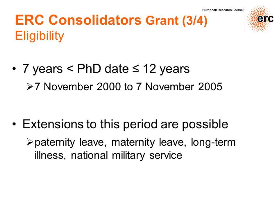 ERC Consolidators Grant (3/4)