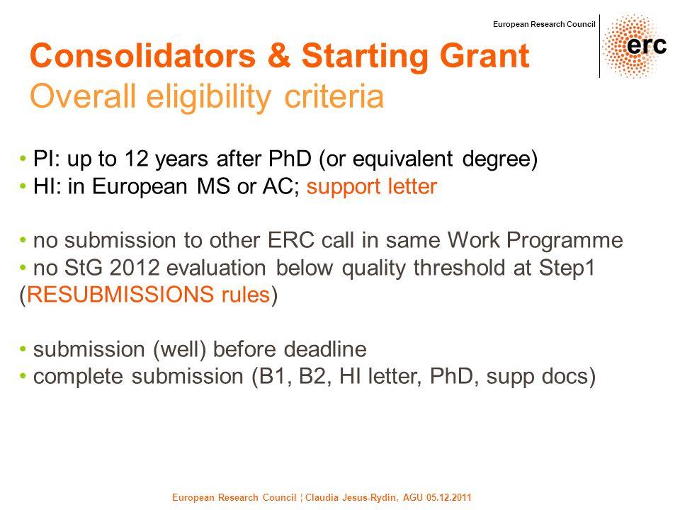 European Research Council ¦ Claudia Jesus-Rydin, AGU 05.12.2011