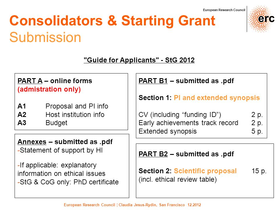Consolidators & Starting Grant Submission