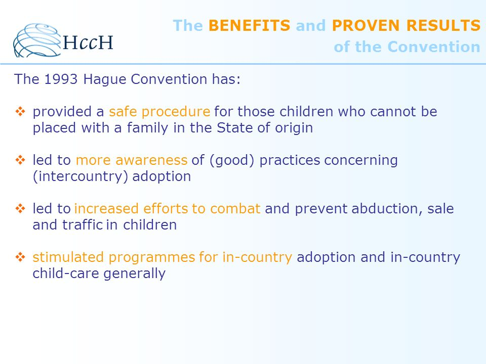 The BENEFITS and PROVEN RESULTS of the Convention