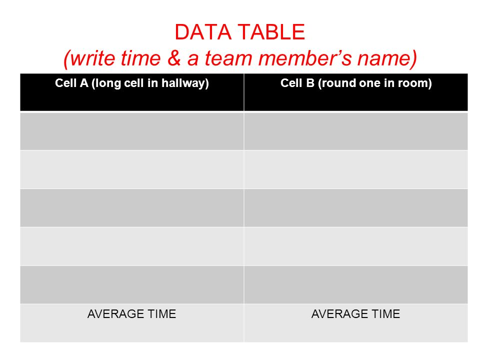 DATA TABLE (write time & a team member's name)