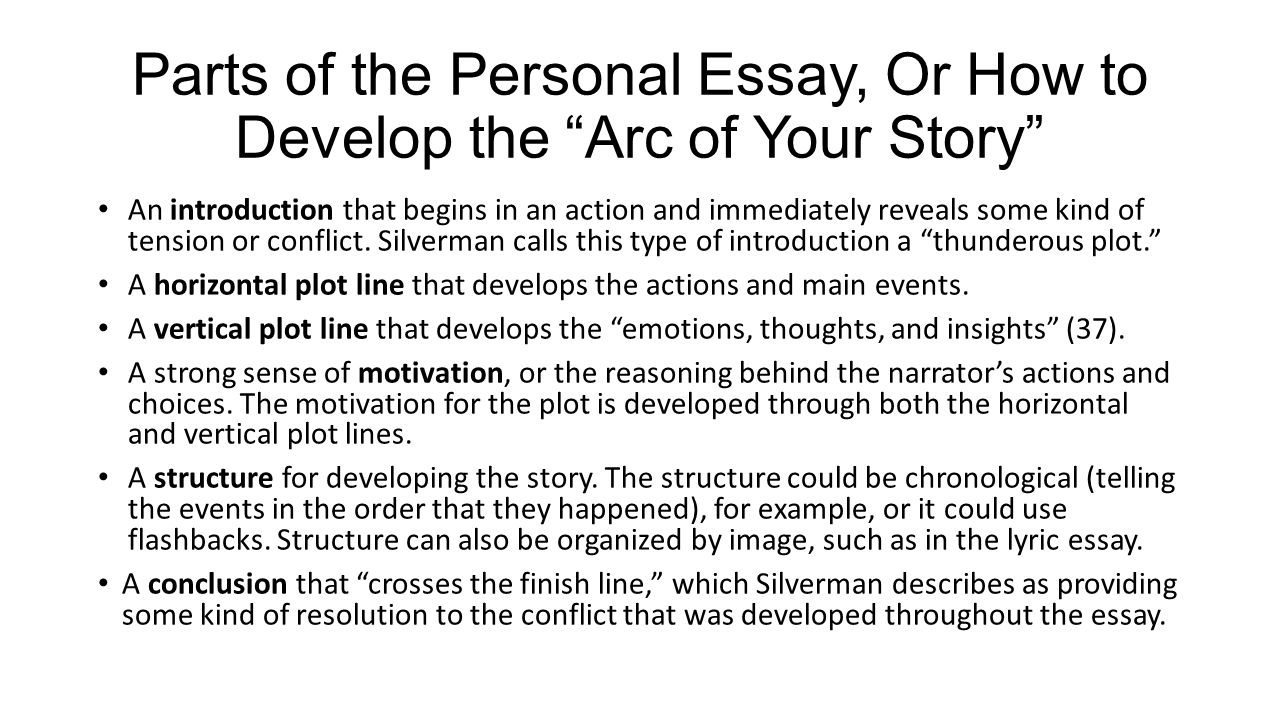 "plotting your life"" parts of the personal essay ppt video  parts of the personal essay or how to develop the arc of your story"