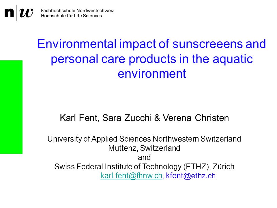 Environmental impact of sunscreeens and personal care products in the aquatic environment