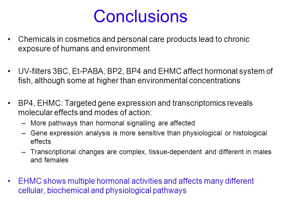 Conclusions Chemicals in cosmetics and personal care products lead to chronic exposure of humans and environment.