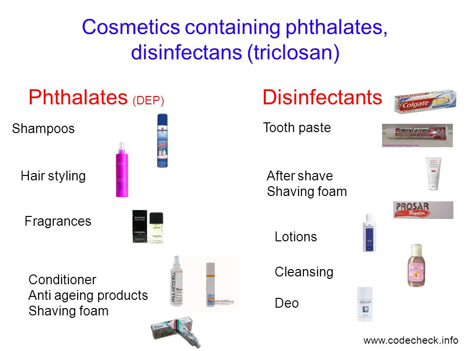 Cosmetics containing phthalates, disinfectans (triclosan)