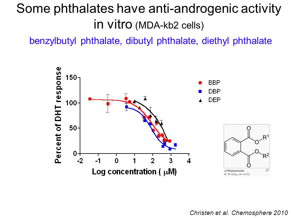 Some phthalates have anti-androgenic activity in vitro (MDA-kb2 cells) benzylbutyl phthalate, dibutyl phthalate, diethyl phthalate