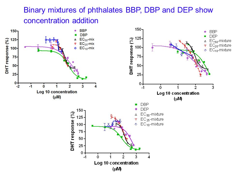 Binary mixtures of phthalates BBP, DBP and DEP show