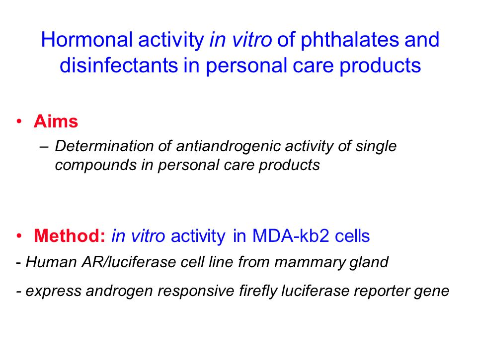 Hormonal activity in vitro of phthalates and disinfectants in personal care products