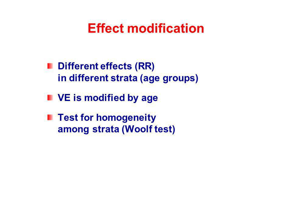Effect modification Different effects (RR) in different strata (age groups) VE is modified by age.