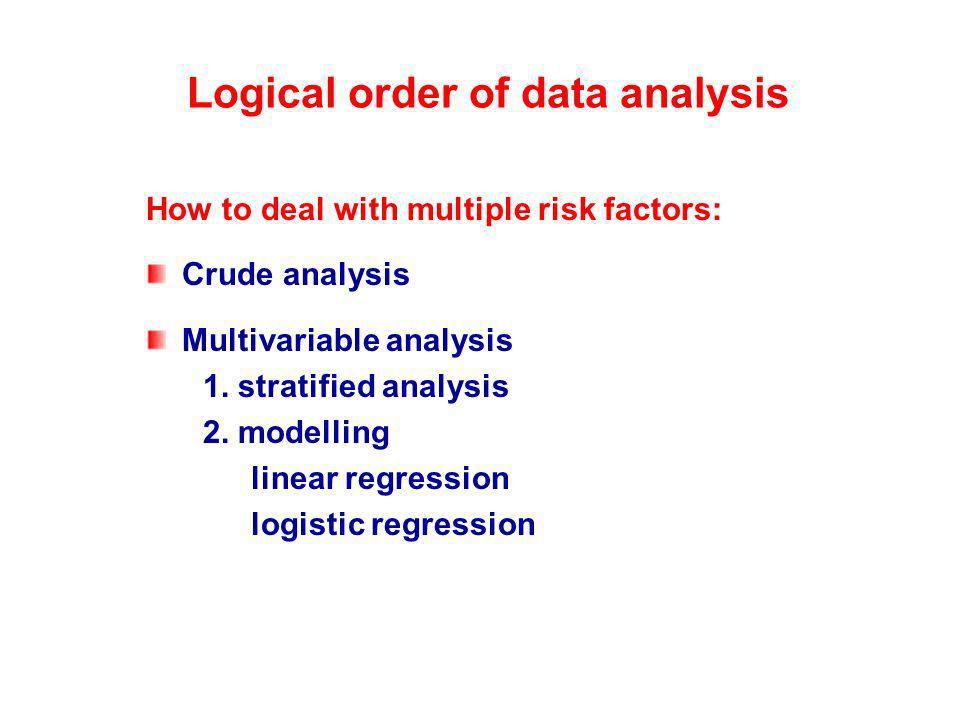 Logical order of data analysis