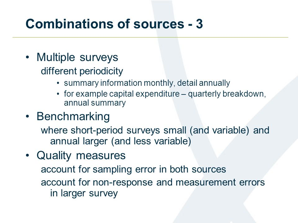 Combinations of sources - 3