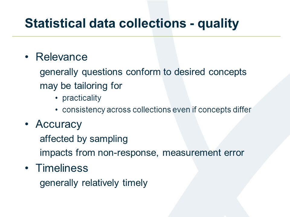 Statistical data collections - quality