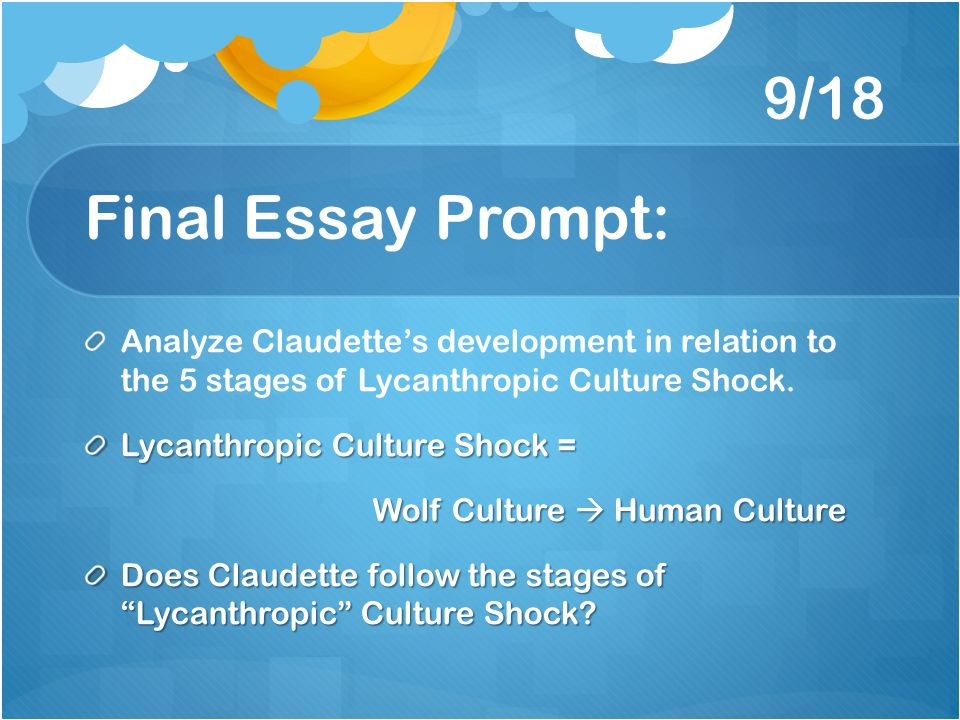 culture shock essay writing This syllabus section provides the you will write essays that critically engage elements presentations by culture shock teams: revisions due for essays.