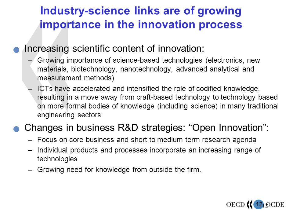 Industry-science links are of growing importance in the innovation process