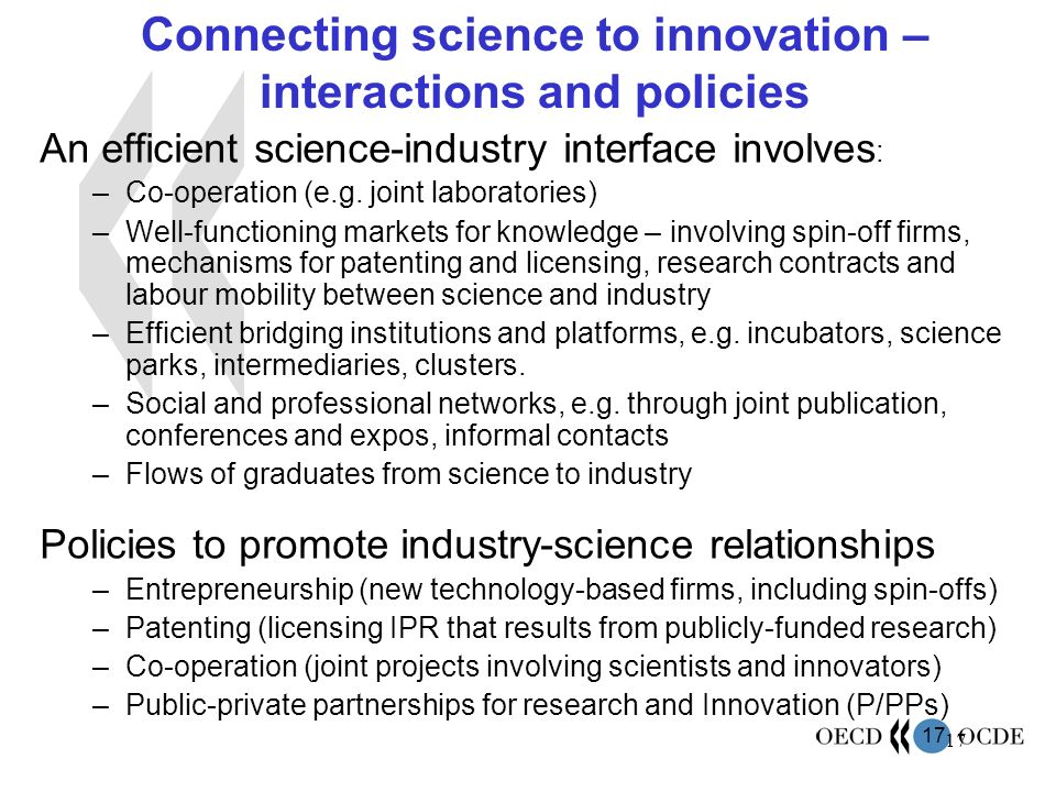 Connecting science to innovation –interactions and policies