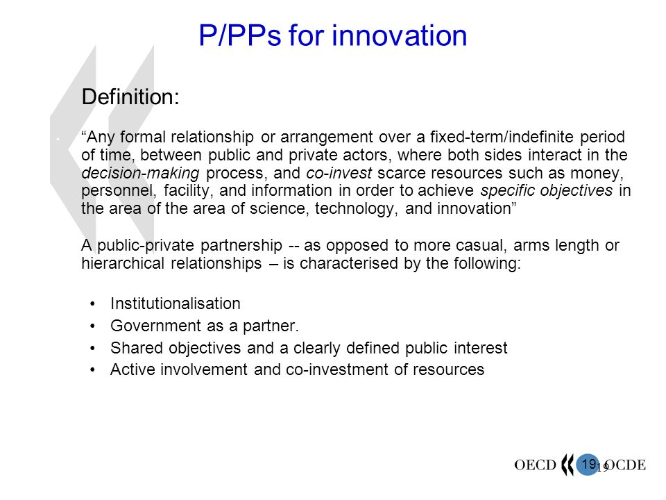 P/PPs for innovation Definition: