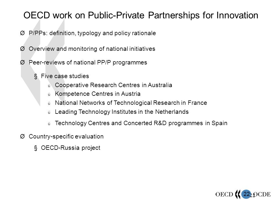 OECD work on Public-Private Partnerships for Innovation