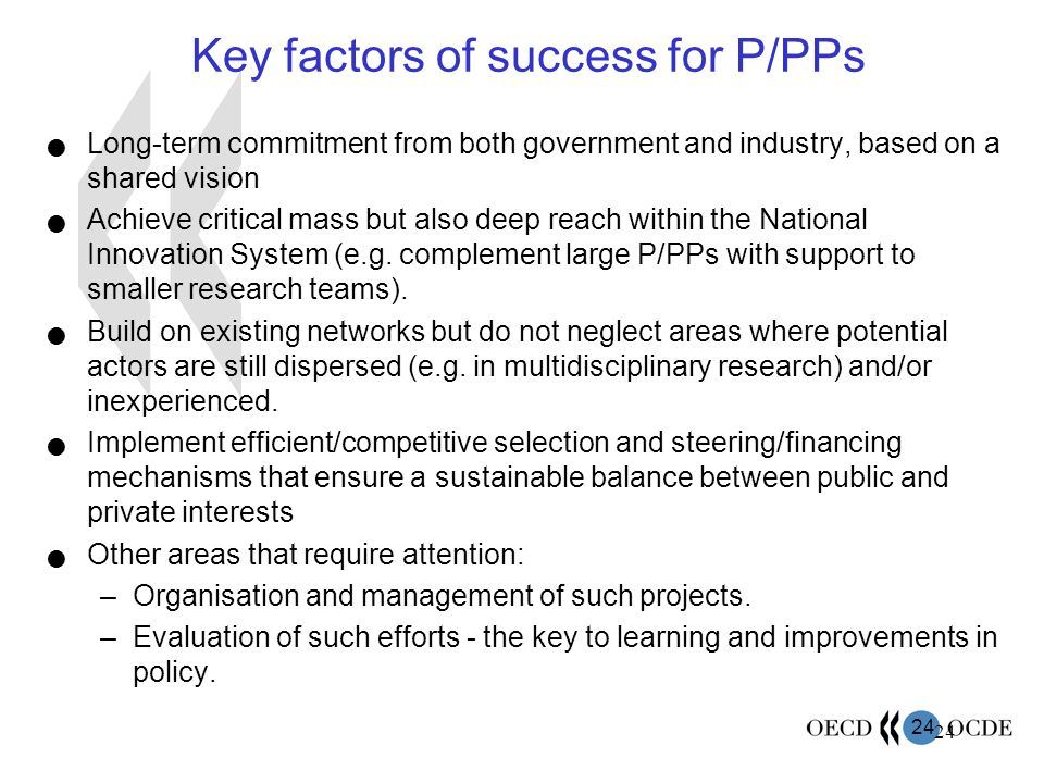 Key factors of success for P/PPs