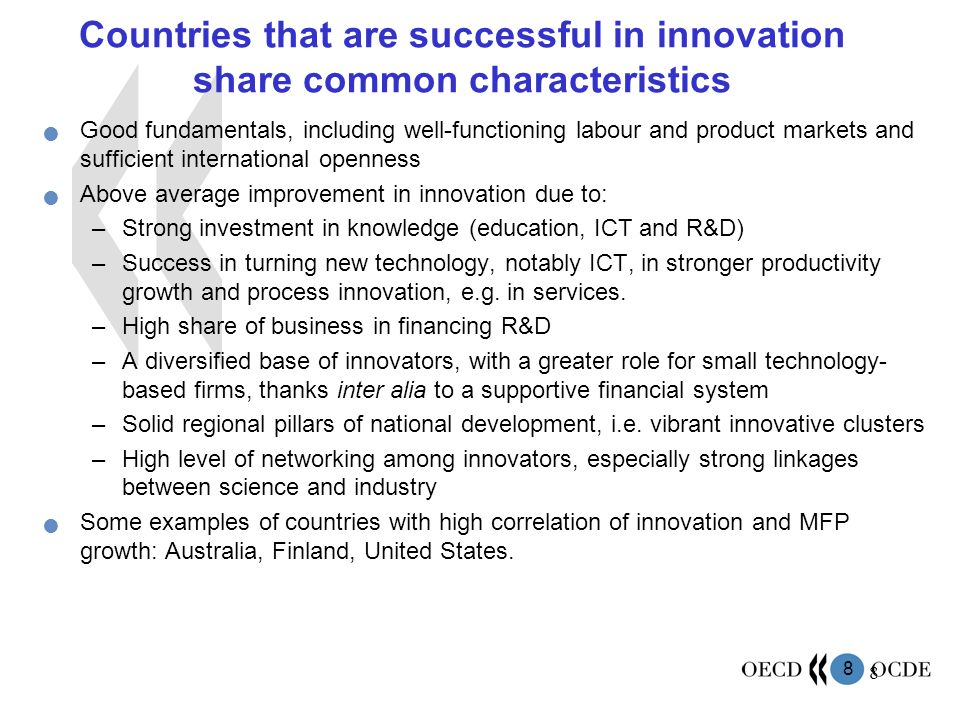 Countries that are successful in innovation share common characteristics