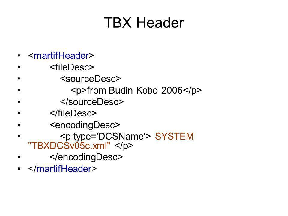 TBX Header <martifHeader> <fileDesc> <sourceDesc>