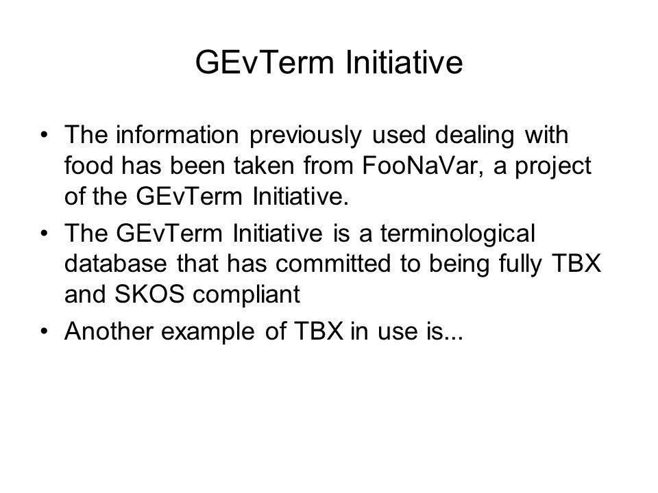 GEvTerm Initiative The information previously used dealing with food has been taken from FooNaVar, a project of the GEvTerm Initiative.