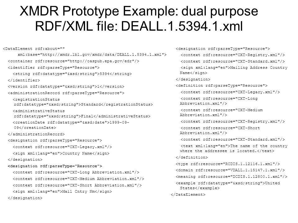 XMDR Prototype Example: dual purpose RDF/XML file: DEALL xml