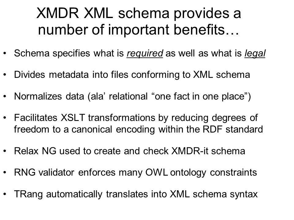 XMDR XML schema provides a number of important benefits…