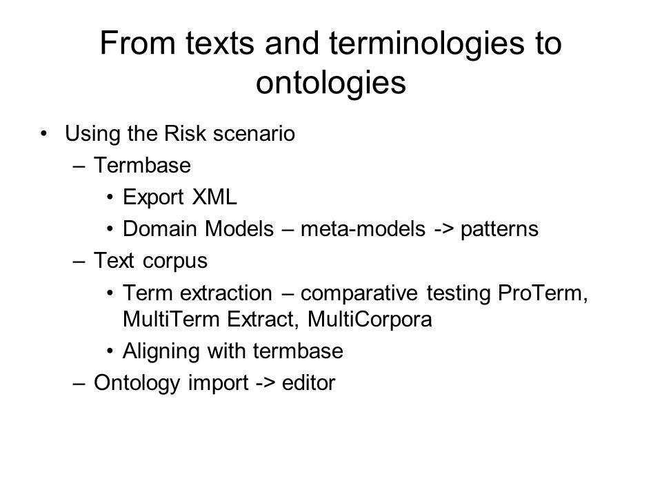 From texts and terminologies to ontologies