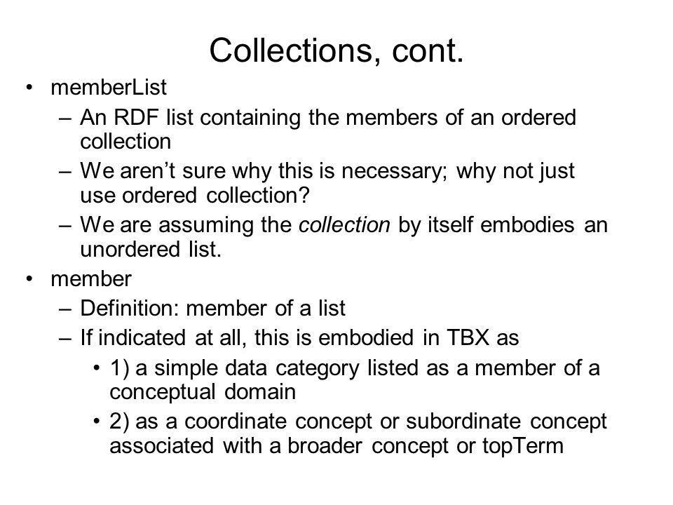Collections, cont. memberList