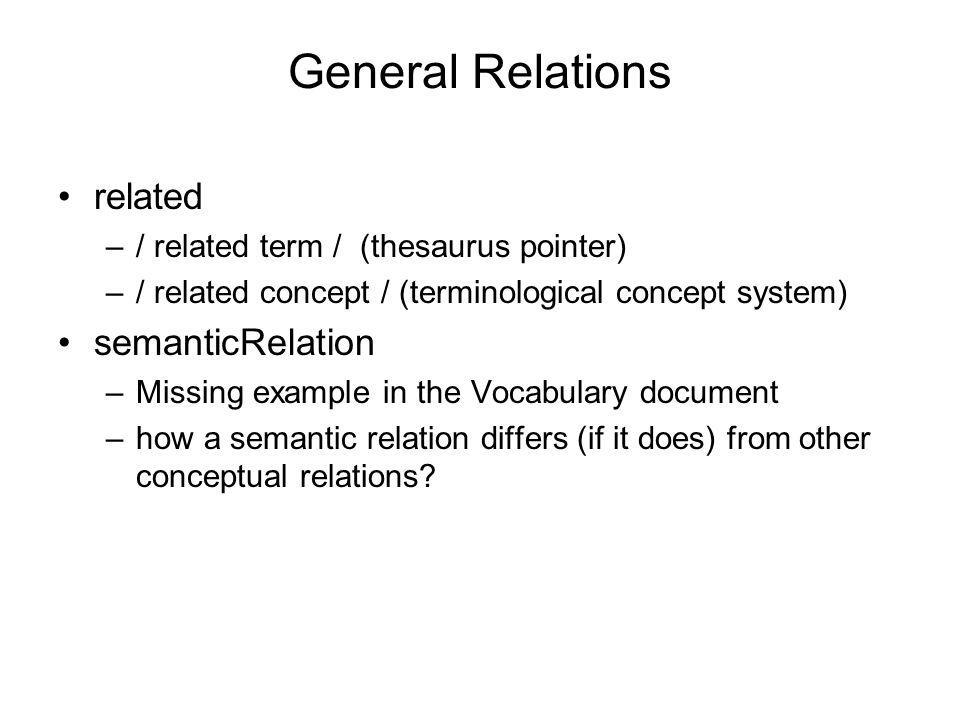 General Relations related semanticRelation