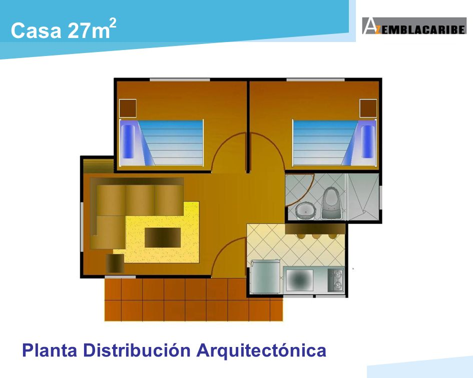 2 Casa 27m Planta Distribución Arquitectónica