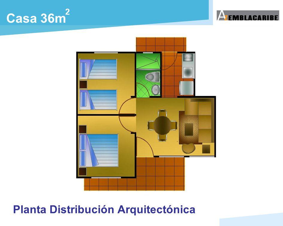 2 Casa 36m Planta Distribución Arquitectónica