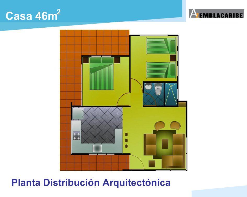2 Casa 46m Planta Distribución Arquitectónica