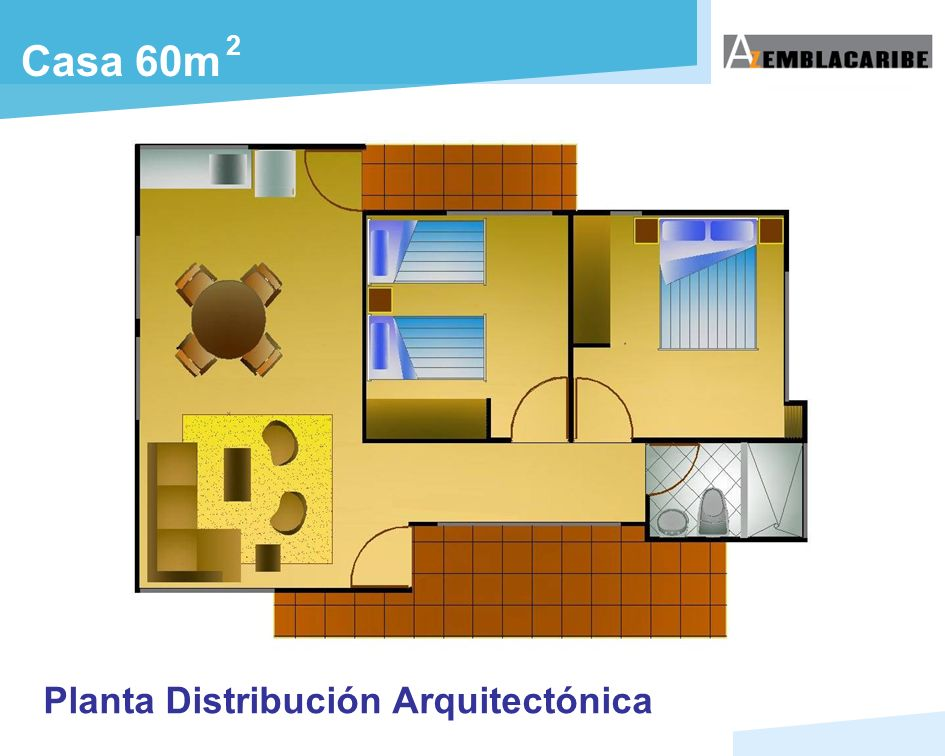 2 Casa 60m Planta Distribución Arquitectónica