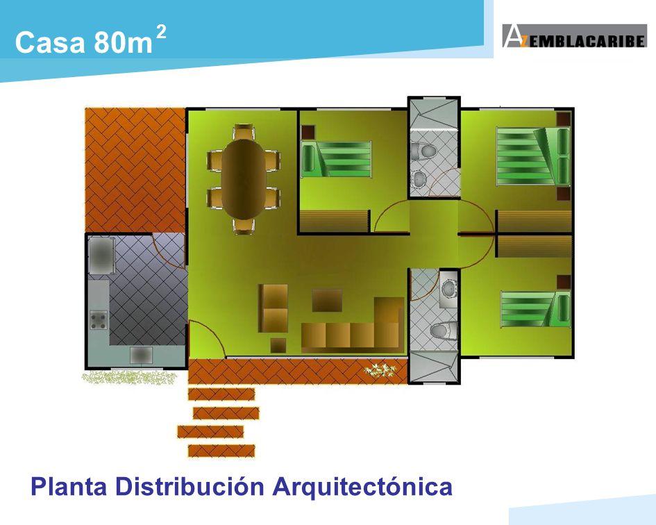 2 Casa 80m Planta Distribución Arquitectónica