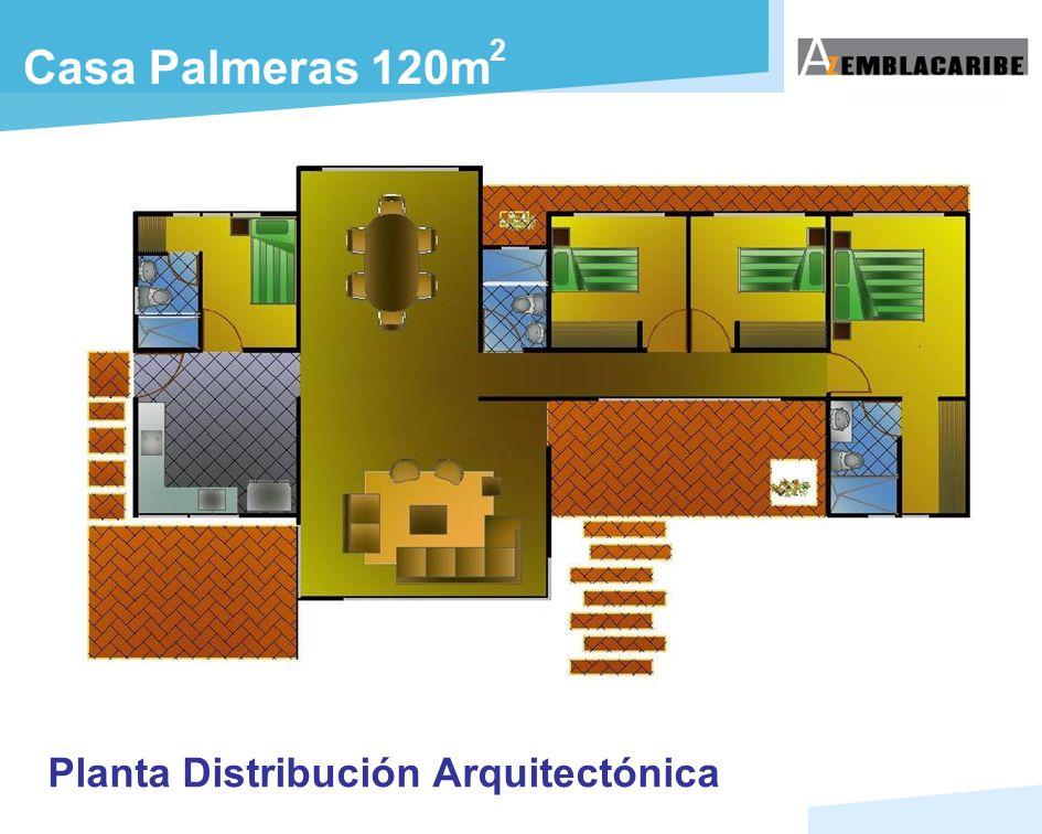 2 Casa Palmeras 120m Planta Distribución Arquitectónica