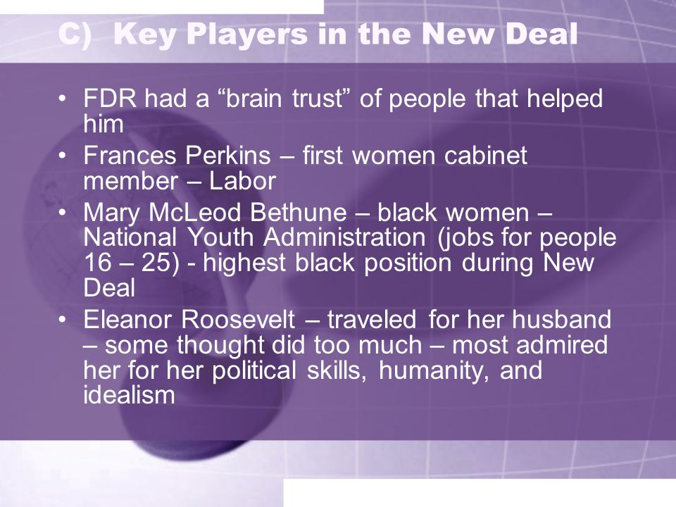 9 C) Key Players in the New Deal