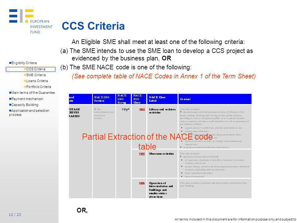 Partial Extraction of the NACE code table