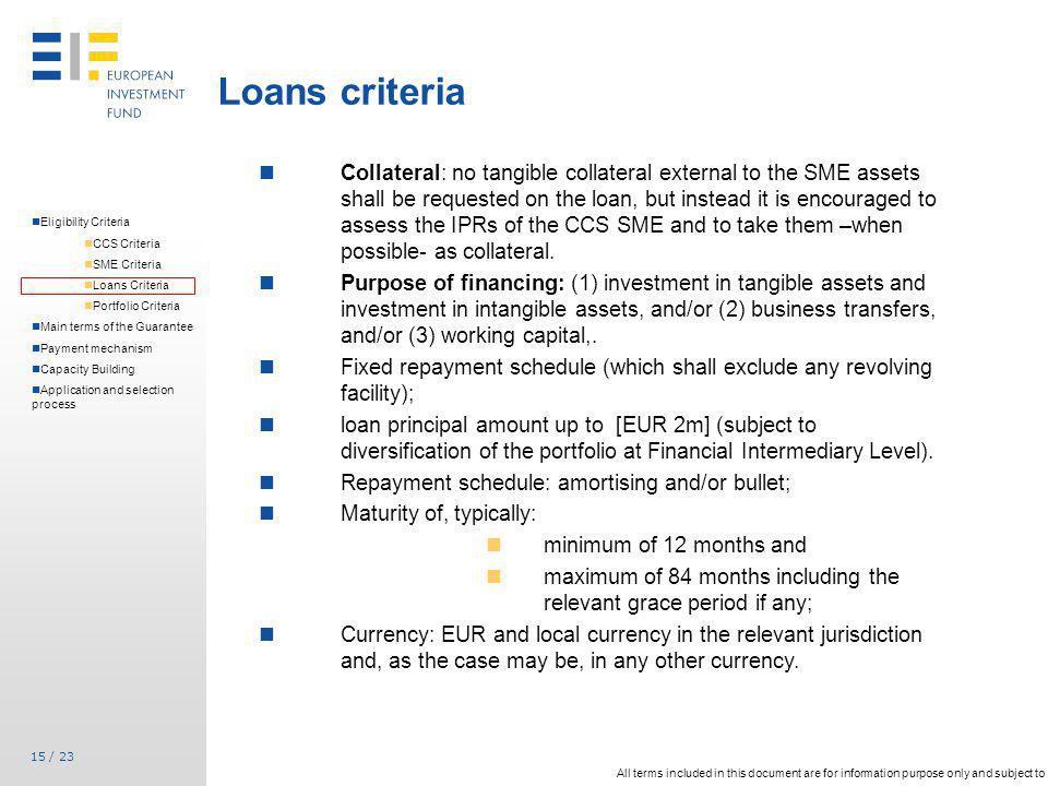 Loans criteria