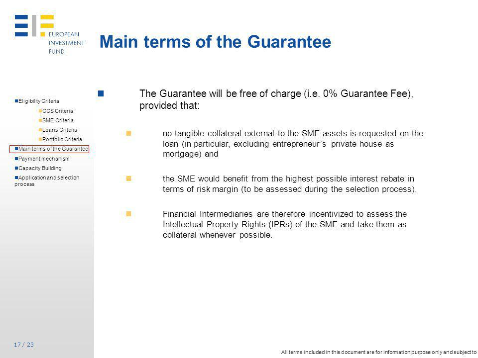 Main terms of the Guarantee