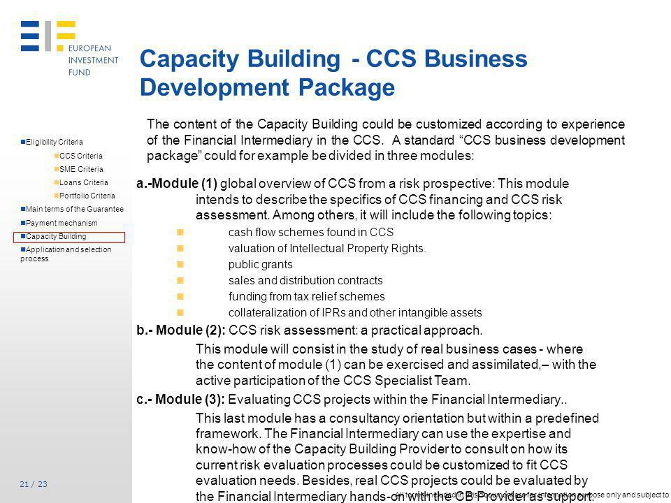 Capacity Building - CCS Business Development Package