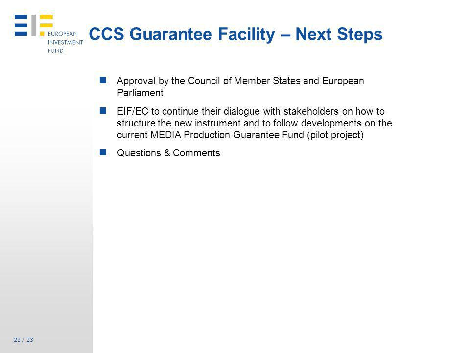CCS Guarantee Facility – Next Steps