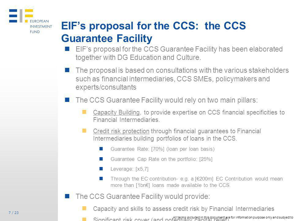 EIF's proposal for the CCS: the CCS Guarantee Facility