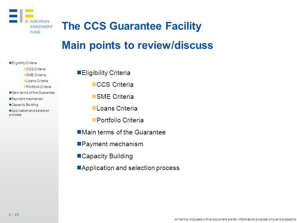 The CCS Guarantee Facility Main points to review/discuss