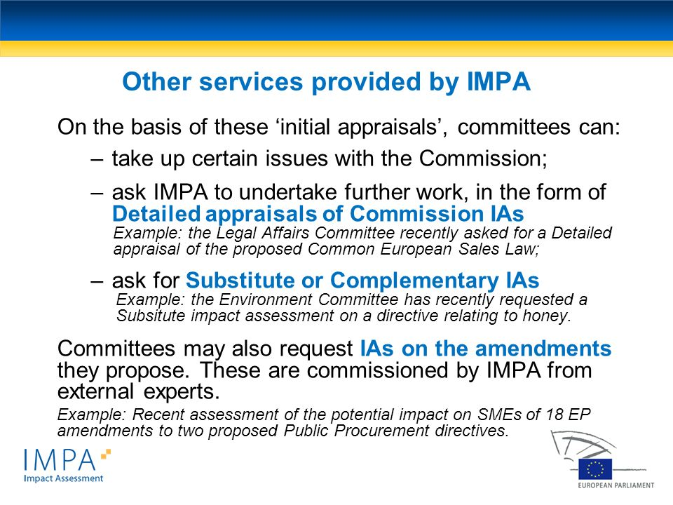 Other services provided by IMPA
