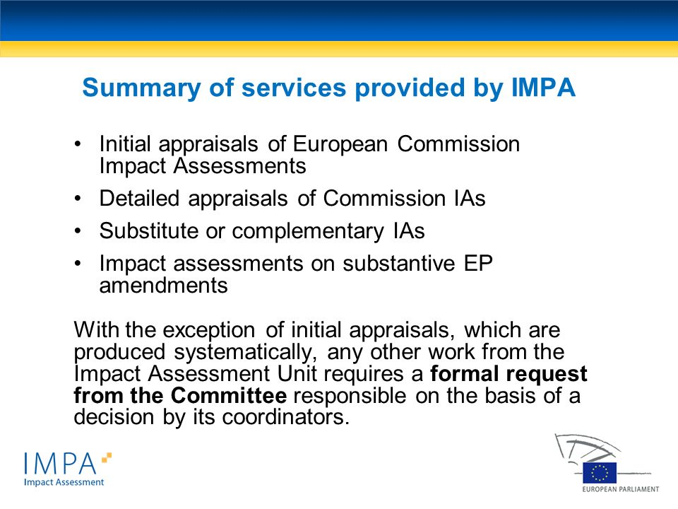 Summary of services provided by IMPA