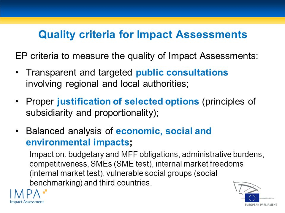 Quality criteria for Impact Assessments